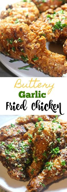 This Buttery Garlic Fried Chicken recipe is an addicting, flavorful and melt in your mouth southern comfort food. You will not want to make fried chicken any other way! The extra crispy skin and melted garlic butter makes for a very juicy mouthwatering bi Garlic Fried Chicken, Making Fried Chicken, Fried Chicken Recipes, Recipe Chicken, Fried Chicken Skin, Healthy Fried Chicken, Roasted Chicken, Baked Chicken, Tapas