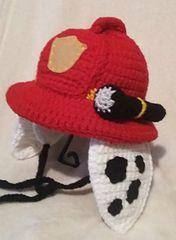Ravelry: Dalmatian Fireman Hat pattern by Michelle Moore Crochet Beanie Hat, Crochet Baby Hats, Baby Knitting, Knitted Hats, Crochet Paw Patrol Hat, Paw Patrol Costume, Fireman Hat, Crochet Character Hats, Crochet Patron