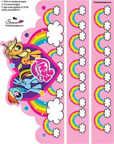 Party Hats-Tons of free printables on this website!! COMPLETE MY LITTLE PONY…