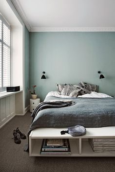 Interior Design Ideen bedroom-wall-design-bedroom-paint-ideas-mint-color The Home Improvement Contra Best Paint Colors, Bedroom Paint Colors, Gray Bedroom, Trendy Bedroom, Bedroom Decor, Gray Bedding, Wall Colors, Design Bedroom, Wall Decor