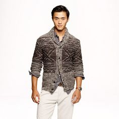 Alpaca Fair Isle shawl collar cardigan From J Crew Great color variation it enhances broad shoulders xoxoxoxo
