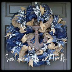 Anchor Wreath, Nautical Wreath, Wreath Crafts, Diy Wreath, Tulle Wreath, Wreath Making, Wreath Ideas, Deco Mesh Wreaths, Burlap Wreaths