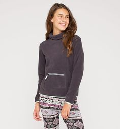 Fleece-Pullover in dunkelgrau