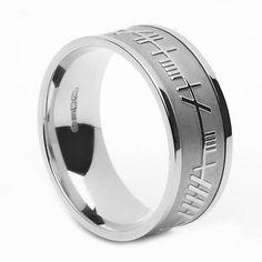 Men's 8.6 mm Ogham Wedding Ring Soulmate