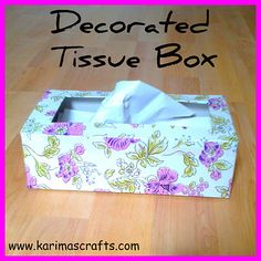 Decorated Tissue Box - using sticky backed plastic Sticky Vinyl, Sticky Back Plastic, Tissue Boxes, Inspire Others, How To Find Out, Celebration, Arts And Crafts, About Me Blog, Craft Ideas