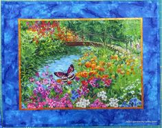 Julia's Garden by Cathy Geier. Appliqued and quilted landscape panel quilt.