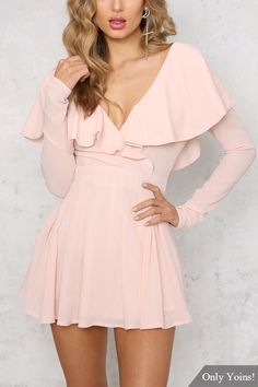 Pink Sexy V-neck Flounced Over-layer Playsuit