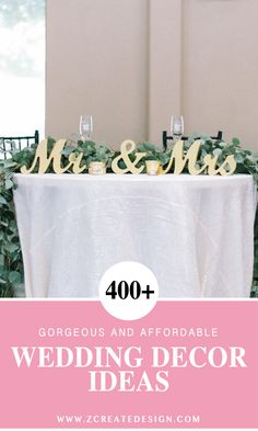 Gold Mr and Mrs Wedding Sweetheart Table Decor | Handmade Wedding Decor & Gifts at www.ZCreateDesign.com... or shop ZCreateDesign on Etsy