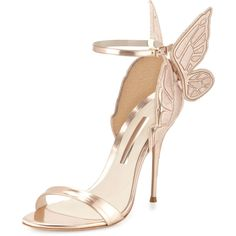 Sophia Webster Chiara Butterfly Wing Ankle-Wrap Sandal (2.400 BRL) ❤ liked on Polyvore featuring shoes, sandals, heels, gold, metallic sandals, ankle wrap sandals, winged sandals, ankle strap sandals and embroidered sandals