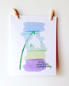Printable SYMPATHY Card. Watercolor Snowdrop by ACNPrintableArt, $3.50