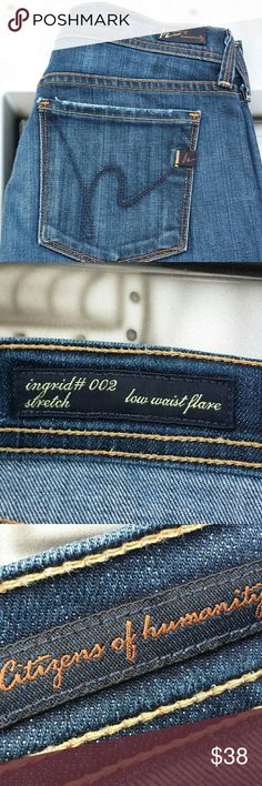 Citizens of Humanity Jeans Low Waist Flare, Ingrid #002 Stretch. Size 26. Worn just right! No rips it stains. Citizens of Humanity Jeans Flare & Wide Leg