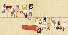 Paloma Valdivia - 'Quelli di sopra e quelli di sotto', Kalandraka, Firenze 2009 - Tecnica mista: inchiostro cinese, penne, pennarelli, matite, digitale