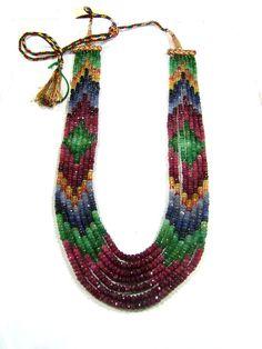Multi gemstones 7 strand  ruby - emerald - opal - sapphire gemstones by minakaja