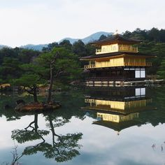 Kinkaku (Golden Pavilion) is part of a temple named Rokuon-ji. This area was originally the site of a villa acquired by Yoshimitsu. In keeping his will after he died, it was converted to a temple. The garden & buildings were said to represent the Pure Land of Buddha in this world.