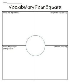 vocabulary ideas- Can be used like regular four square. Call out a vocab word .  Student is responsible for giving the info for the word in heir square while tossing the all. Rotate to next square and repeat when new word is given. Continue until all words used.