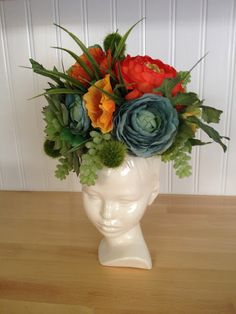 Modern Ceramic Head Planter by Membil on Etsy, $34.99 Head Dress by Harmony Marie.  Harmandderek.blogspot.com