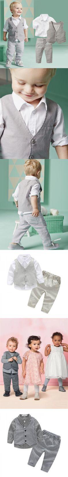 2016 retail Autumn Fashion Baby Boy Clothes 3pcs 0-24m baby clothes baby clothing set gentleman boys suit vest+white shirt+pants