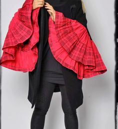 Black wool coat with exotic sleeves pink thick cotton fabric/Hand made by Gabyga/ Originale dessign/Woman winter wool coat/