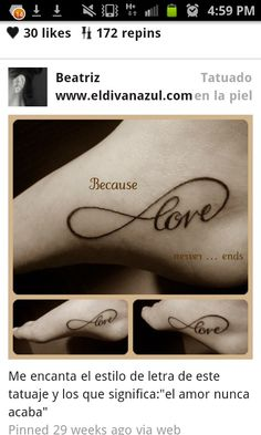 "Like the word, ""love"" in infinity......love never ends!"