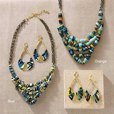 Double Happiness African Necklace and Earrings - VivaTerra