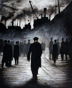 The Forgotten Workers. Painting by Ryan Mutter who has built up a strong reputation as painter of industrial scenes.