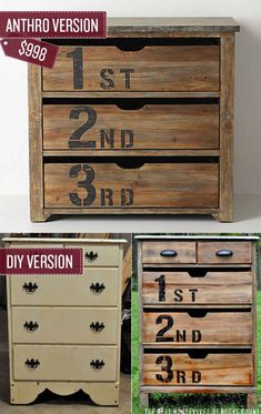 This site has tons if Anthropologie hacks Transforming an old dresser. DIY