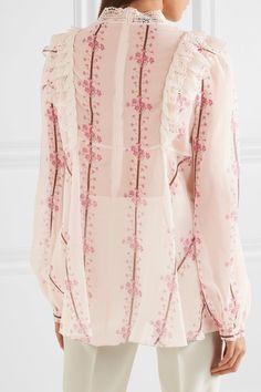 Giambattista Valli   Guipure lace-trimmed printed silk-chiffon blouse   NET-A-PORTER.COM