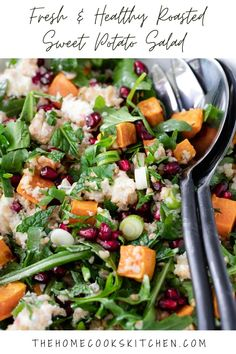 This sweet potato salad recipe is a must have recipe for any occasion. Roasted sweet potato, bulgur, fresh herbs, zesty lemon, and creamy feta. This is a filling salad, that is super healthy, quick and easy to make! check out how to make this recipe, plus additional tips for serving and storage. #sweetpotatosalad #sweetpotatorecipe #roastsweetpotatosalad #roastsweetpotato #sweetpotato via @homecookskitchn Salad With Sweet Potato, Sweet Potato Recipes, Potato Salad, Party Side Dishes, Winter Salad, Easy Weeknight Dinners, Salad Ingredients, Roasted Sweet Potatoes, Easy Salads