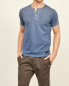 Mens Garment Dye Slub Henley | Mens Tops | Abercrombie.com