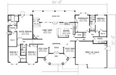 Use 1 BR as office, living room as playroom. 1 Story, 5 Bedroom and 3 Bath, 3 Garage Stalls Monster House Plans - Plan 41-1133