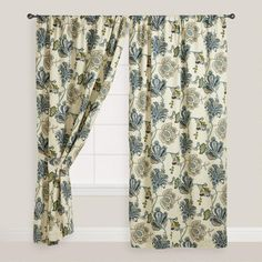 Our Floral Tatiana Sleevetop Curtain's medley of flowers and pods in hues of green, teal and blue bring a refreshing spring look to your bedroom. Slider Curtains, Window Drapes, Window Coverings, Drapes Curtains, Window Treatments, Bedroom Curtains, Curtain Panels, Valances, Window Panels