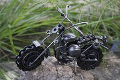 Sculpture: #FreeShipping Scrap Metal Art Motorcross Dirt Bike Recycled Metal 20 Cm