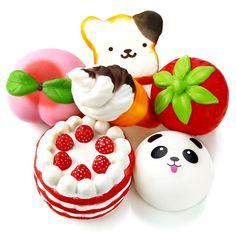 6Pc Squishy Slow Rising Jumbo Strawberry Peach Panda Cake Ice Cream Squishies. #OPount