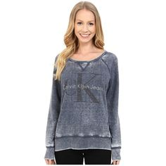Calvin Klein Jeans Long Sleeve Washed Embellished Sweatshirt Women's... ($80) ❤ liked on Polyvore featuring tops, hoodies, sweatshirts, decorated sweatshirts, sweat shirts, scoop neck sweatshirt, studded top and pullover sweatshirts
