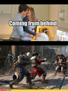 They gotta get their weps out! Asesins Creed, Gamer Humor, Gaming Memes, Assassins Creed Quotes, Assassin's Creed Hidden Blade, Funny Animal Memes, Funny Games, Funny Pictures, Jokes