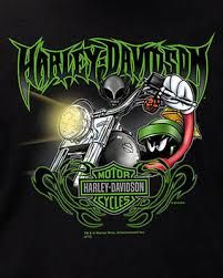 Harley Davidson Mens Looney Tunes Marvin The Martian Edge Black Biker T Shirt