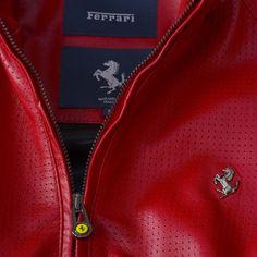 Men's Ferrari Cavallino Rampante Jacket #Ferrari #FerrariStore #CavallinoRampante #PrancingHorse #Leather #Jacket #MadeInItaly #Craftsmanship #MaranelloGT #Exclusive #Style #Racing #Urban #FW2015 #FallWinter2015 #Metal #Plate #Serial #Number #Vintage #SaudiArabia #Look #Red #RossoFerrari