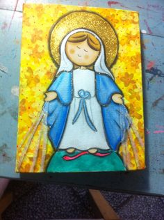 Virgen de la medalla milagrosa Painting Words, Fabric Painting, Watercolor Paintings, Wood Craft Patterns, Catholic Crafts, Holy Mary, Blessed Mother, Religious Art, Face Art