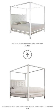 @horchow Bernhardt Magdalena Queen Bed $2,899 Vs @overstock Inspire Q Solivita Canopy Button Tufted Metal Poster Bed $818