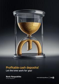 Bank Respublika / Cash Deposits on Behance Ads Creative, Creative Posters, Creative Advertising, Advertising Design, Creative Design, Banks Advertising, Advertising Campaign, Leaflet Layout, Banks Ads
