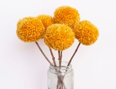 Yarn Pom Pom Flowers-Mustard (5 flowers). $15.00, via Etsy.