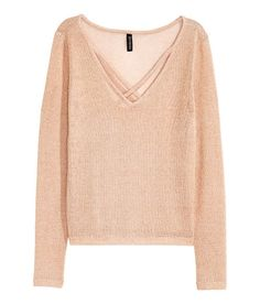 Check this out! Loose-knit sweater with long sleeves. V-neck with crossover straps at neckline. - Visit hm.com to see more.