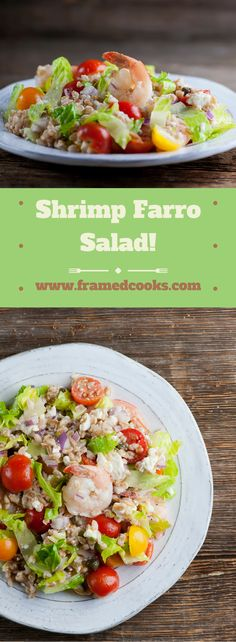 This recipe for shrimp farro salad features feta cheese, mint and tomatoes for a…