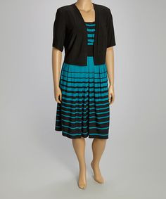Look what I found on #zulily! Black & Teal Stripe A-Line Dress & Shrug - Plus by R&M Richards #zulilyfinds