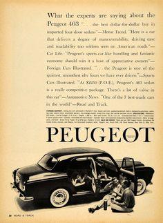 1959 Ad Peugeot 403 Foreign Vintage Sports Car Pricing - ORIGINAL RAT1