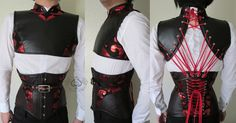 "Commission of a matching mens custom corset and fan lacing halter top for The Labyrinth of Jareth Masquerade Ball. The ensemble is made from black leather and metallic brocade with silver (nickel) hardware. Both garments feature a coutil strength layer and boning. The corset has two 1/4"" spiral bones per seam, with flat steels at the front and back. Every piece of brocade was mirrored, and the top-stitching was chevroned at the center front."