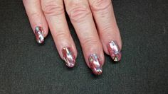 Brisa Gel Enhancement Overlay with CND Shellac and metallic foil art