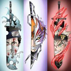 who is your overall favourite swordsman? - Art: @ - by Clover Bleach Anime, Naruto Tattoo, Anime Crossover, Naruto Art, Anime Naruto, Anime Comics, Fanarts Anime, Anime Characters, Otaku Anime