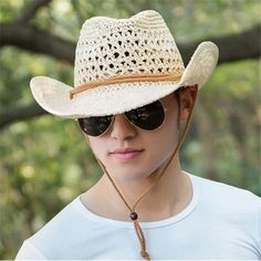 12442a47477 Western straw cowboy cap for men summer sun hats with string