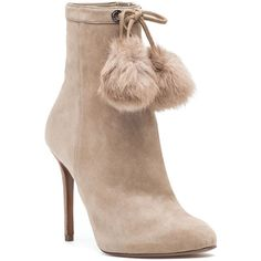 MICHAEL MICHAEL KORS Remi Bootie Light Khaki Suede ($225) ❤ liked on Polyvore featuring shoes, boots, ankle booties, light khaki suede, rubber sole shoes, stiletto shoes, michael michael kors, high heel shoes and heels stilettos